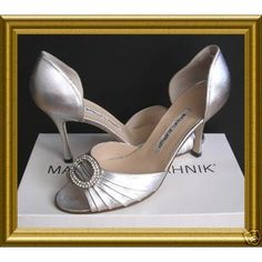 My INSPIRATION wedding shoes - silver Manolo Blahnik d'orsay pumps