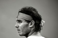 #Rafael #Nadal Image has been converted to black and white) Rafael Nadal of Spain looks on during his semi-final match against Milos Raonic of Canada during day six of the 2013 Barcelona Open Banc Sabadell on April 27, 2013 in Barcelona, Spain. Rafael Nadal won 6-4, 6-0.
