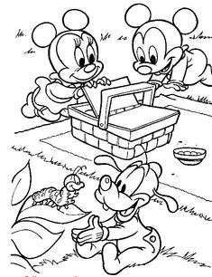 m and m coloring pages | Baby Mickey Mouse and Minnie Mouse Coloring Pages