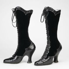 ephemeral-elegance:  Patent Leather and Velvet Boots, ca. 1890-1920 via Bata Shoe Museum  unf. I want.