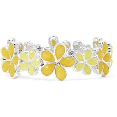 Liz Claiborne Yellow Stone Silver-Tone Stretch Flower Bracelet (72 RON) ❤ liked on Polyvore featuring jewelry, bracelets, yellow, liz claiborne, stone jewelry, liz claiborne jewelry, yellow jewelry and silvertone jewelry