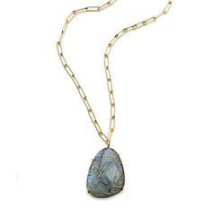 Margaret Elizabeth Labradorite Pendant Necklace ~ Faceted Labradorite Stone on Gold Rectangular Chain
