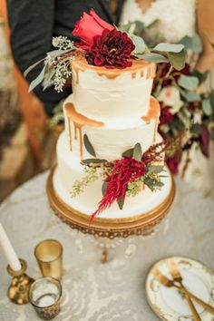 Check out these Boho-Inspired Burgundy, Ivory + Green Wedding Ideas! Dessert Bar Wedding, Wedding Sweets, Wedding Cake Rustic, Rustic Wedding Flowers, Fall Wedding Cakes, Rustic Wedding Centerpieces, Wedding Cakes With Flowers, Elegant Wedding Cakes, Whimsical Wedding