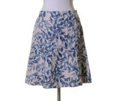 Ann Taylor Off Whiet Navy Blue Floral Silk Linen Blend Flared Skirt Size 2P #AnnTaylor #ALine