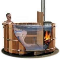 Wood-Fed Hot Tub! Good thing I have a handy roommate to make one for our new place!