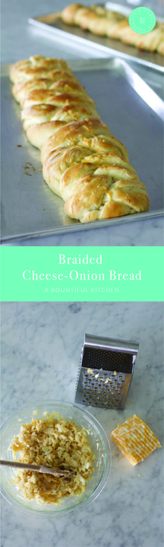A Bountiful Kitchen: This Braided Cheese-Onion Bread has been a favorite recipe in our family for years! The chewy texture of the bread, combined with ribbons of melted cheese and onions all baked into one beautiful loaf is the perfect companion for almost any main dish. #cheesy #onion #bread #dinner #holidaybaking #foodforacrowd