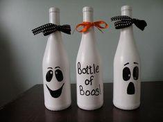 Fall Wine Bottles, Halloween Wine Bottles, Liquor Bottle Crafts, Recycled Wine Bottles, Painted Wine Bottles, Painting On Wine Bottles, Decorated Bottles, Beer Bottles, Diy Crafts Glass Bottles