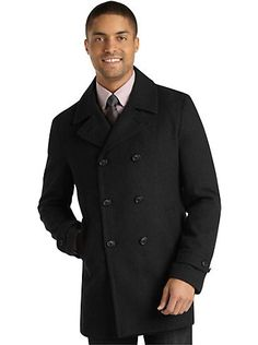 A stylish Pronto Uomo Charcoal Plaid Peacoat is perfect for the fall.