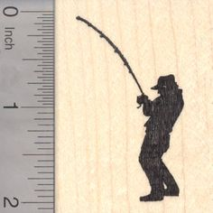 Fishing Fisherman Silhouette Rubber Stamp, Reeling in a fish (H18305) $10 at RubberHedgehog.com