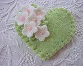 Felt Flower Brooch Pink Heart with Beaded Flowers Valentines Day. $14.50, via Etsy.