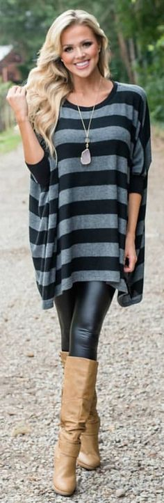 #winter #outfits black and grey striped 3/4 sleeved blouse and leather skinny pants outfit