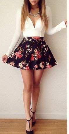 Arranged to love you ✔ in 2019 cute outfits готическая мода, Sweet 16 Outfits, Girly Outfits, Skirt Outfits, Sexy Outfits, Cute Outfits, Sexy Date Outfit, Fall Outfits For Work, Outfits For Teens, Flower Dresses