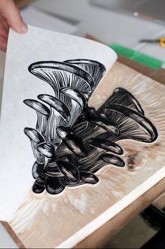 Oyster Mushrooms print by Jordan Blackburn (joblackart on Etsy) Lino Art, Mushroom Art, Linoprint, Linocut Prints, Woodblock Print, Wood Print, Making Ideas, Printmaking, Screen Printing