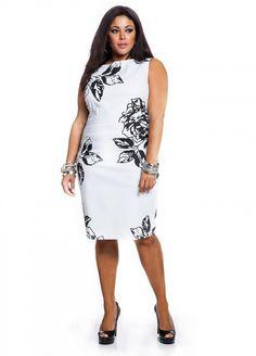 Ashley Stewart: Floral Print Pique Sheath Plus Size Dress