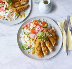 Chicken katsu curry with easy egg-fried rice. Not my usual kind of thing but it looks interesting. Fresh Chicken, Chicken Eggs, Baked Chicken, Chicken Recipes, Chicken Katsu Curry, Teriyaki Chicken, Katsu Recipes, Curry Recipes, Asda Recipes