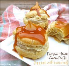 Pumpkin Mousse Cream Puffs {topped with caramel} ~ via Tahnycooks