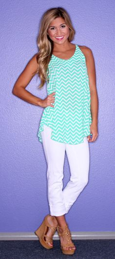 Island Hopping Tank Green | $36.00. Love the top. Don't think I could do wedges.