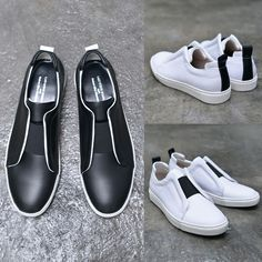 Banding Contrast Leather Slipon-Shoes 560 - GUYLOOK