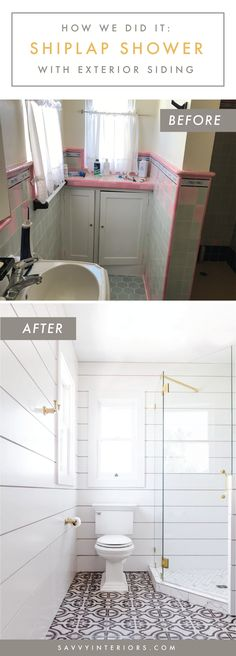 Bathroom Remodel with white shiplap, graphic pattern tile flooring, gold fixtures and warm gray accents by Savvy Interiors in San Diego, CA Shiplap Bathroom, Bathroom Floor Tiles, Master Bathroom, Pink Green Bedrooms, Gray Shiplap, Modern Sink, Best Bath, Shower Remodel, White Rooms
