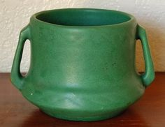 Weller Pottery, double handled jardiniere, matte green glaze