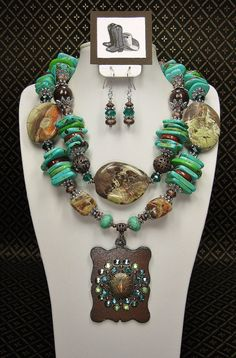 Cowgirl Necklace / Statement Chunky Western Southwest Rustic Turquoise Two Strand Necklace - RuSTiC GLoRy