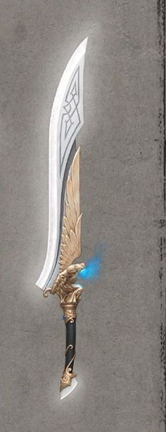Life's Blade **** *** *** The Hand of Taurna. A divine blade passed from one Arch-Paladin to the next for several hundred years. Never actually used in combat, the true abilities of it's gleaming edge remain unknown amidst hundreds of legends. Fantasy Sword, Fantasy Weapons, Fantasy Dagger, Swords And Daggers, Knives And Swords, Armas Ninja, Cool Swords, Sword Design, Anime Weapons