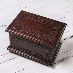 UNICEF Market | Tooled Leather and Wood Jewelry Box - Peruvian Elegance