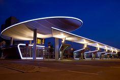 Bus station, Halle/Saale – PVC-PES membrane roof - - Temme Obermeier | Experts for Membrane Building
