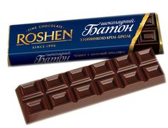 Roshen milk chocolate with creame brulee filling, Roshen, Ukraine.
