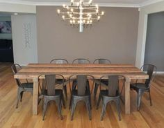 2.36M INDUSTRIAL TABLE WITH 8 REPLICA TOLIX CHAIRS BAYGALDS417 Luxury Dining Sets, Family Dining Rooms, Furniture, Dining Bench, Table, Chair, Tolix Chair, Dining Suites, Home Decor