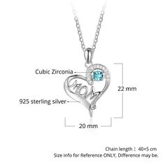 b1ab18eb5 Diamondidde Personalized Heart Mom Necklace with Kids Names Simulated  Birthstone Promise Necklace for Family >>