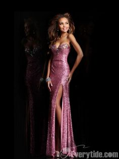 【Everytide.com】Sweetheart Sequined Long Evening Dress
