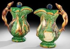 Majolica Pottery; Portuguese, Jugs & Covers (2), Hunt Scenes, Hound Handle, 14 inch. After an earlier traditional English pattern.