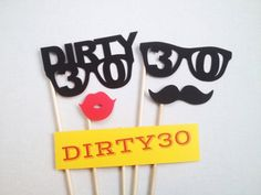 Items similar to Dirty Thirty Photo Booth Prop Set - Birthday Photo Booth Props - Birthday Photobooth on Etsy 30th Party, Adult Birthday Party, 30th Birthday Parties, Surprise 30th Birthday, Birthday Beer, Birthday Sayings, Wife Birthday, Birthday Greetings, Birthday Gifts
