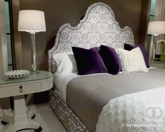 Purple contemporary upholstered headboard Bernhardt bedroom | The Decorating Diva, LLC
