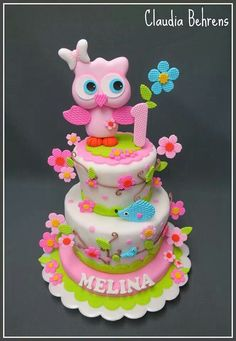 Would also be lovely as a Christening cake if the colours were toned down a bit. I'd also make the owl a bit smaller.