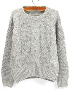 SheIn Grey Round Neck Chunky Cable Knit Sweater ❤ liked on featuring tops, sweaters, grey, cable knit sweater, loose sweater, gray sweater, long sleeve pullover and gray cable knit sweater
