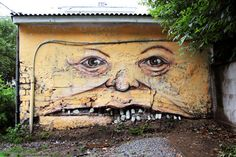 Living Walls is a street art project initiated by artist Nikita Nomerz , from the western Russian city of Nizhniy Novgorod. According to Twisted Sifter, the graffiti and street artist seeks decaying buildings and paints them into living characters. 3d Street Art, Street Art Utopia, Best Street Art, Amazing Street Art, Street Art Graffiti, Street Artists, Amazing Art, Wall Street, Urban Graffiti