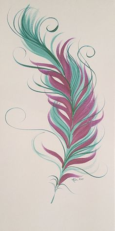 Feather Painting. Purple & Blue Feather. Acrylic on Canvas.
