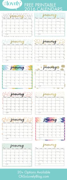 Here are 20 free printable 2016 calendars that you can print out and customize. Weekly, monthly and yearly calendars, cute calendars, food calendars.. a collection of free printable calendars for you to use.