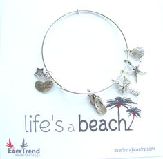Life's a Beach Bangle Charm Bracelet