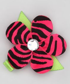 Take a look at this Pink Zebra Flower Clip by Bubbly Bows on #zulily today!