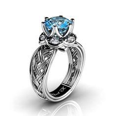 Classic 950 Platinum 3.0 Ct Blue Topaz Diamond Collar Double Knot Solitaire Ring R450-PLATDBT | GNEL K