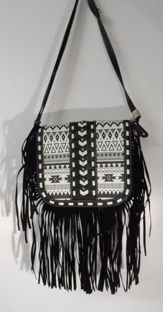 AZTEC TRIBAL FRINGE WESTERN CROSS BODY MESSENGER HIPSTER BAG PURSE AC-PP #NA #MessengerCrossBody