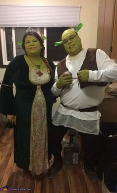 Carmen: Rick is Shrek I am Fiona, I bought my dress from Walmart I lucked out and found it I was going to buy one online. Shreks vest was homemade I...