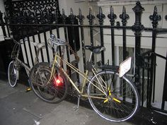 This picture has been taken in London, not in New York ! but have you noticed the strange handlebars ?  Acts also for 2009 Challenge, Day 195: Bicycle  ---  We visited London in May 2007 and we noticed this bike. Fortunately it is still there (see this  . Crazy stuff. I saw more hilarious videos  on youtube.