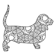 Free printable Basset Hound coloring page available for