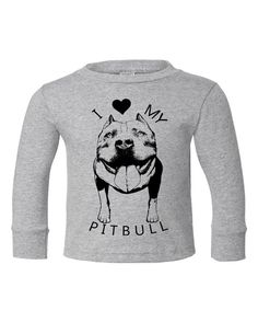 Kid Toddler I love my PIT BULL pitbull Dog bulldog bullie Tee Top Shirt Unisex Long Sleeve 2T 3T 4T 5T 6T Blue Gray  ***Check out all our Pit Bull