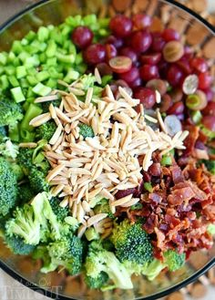 Don't believe me? Just try it! This Best Ever Broccoli Salad recipe is bursting with flavor! Packed full of broccoli, bacon, grapes, almonds and more - every bite is delicious!   MomOnTimeout.com