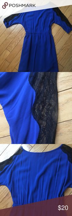 Royal blue dress with lace black sleeves Gianni Bini - XS - Royal blue - Black lace sleeves Gianni Bini Dresses